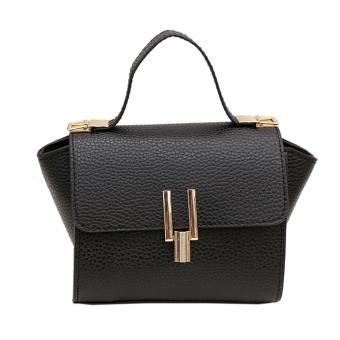 Women PU Leather Litchi Pattern Crossbody Bag (Black) (Intl)