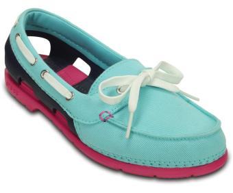 Giày lười nữ CROCS Beach Line Boat Shoe Mix Pool/NauticalNavy 200109-4DO (Xanh ngọc)