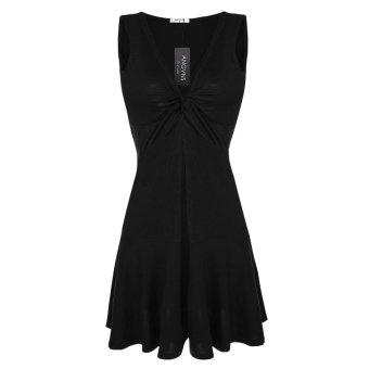 Sunweb ANGVNS Fashion Women Sleeveless Sexy V-Neck Slim Pleated Mini Dress ( Black ) - intl