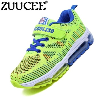 Boys Fashion Breathable Flying Weaving Gas Pad Shoesoutdoor Sports Running Shoes Sneaker (Green) - intl