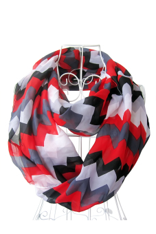 Women Ladies Girls Chiffon Waves Printing Multicolor Infinity Loop Circle Scarf