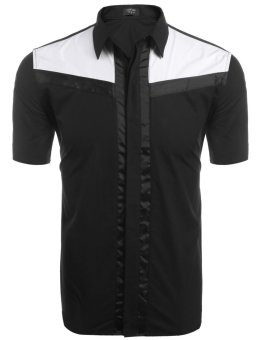 Linemart Men's Short Sleeve Contrast Color Patchwork Casual Button Down Shirt ( Black ) - intl