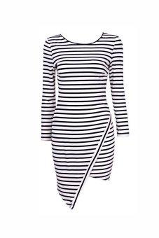 Cyber Striped Long Sleeve Mini Dress (White) - intl