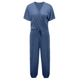 Fahion Women Clubwear Party Jumpsuit Romper Long Trousers (Dusty Blue) - intl