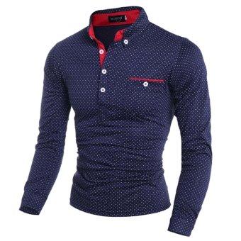 New Fashion Mens Slim Fit Long Sleeve Casual Polo Shirt(Dark blue)XL - intl