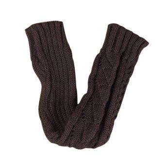 Winter Autumn Warm Hollow Out Gloves Keyboard Leak Finger Knit Gloves DarkGray - Intl