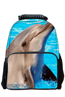 Unisex Adult Teenager 3D Animal Style Multi-purpose Schoolbag Outdoor Travel School Bag Backpack Tablet Laptop Carry Bags Dolphin