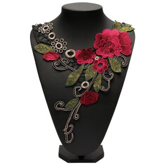 3D Flower Floral Guipure Collar Lace Trim Embroidered Neck Applique Sewing Craft - intl