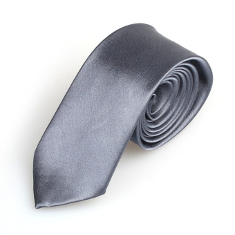 Casual Slim Plain Mens Solid Skinny Neck Party Wedding Tie Necktie Gray
