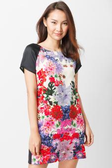 Đầm suông in hoa tay phối màu Cirino (Đen)