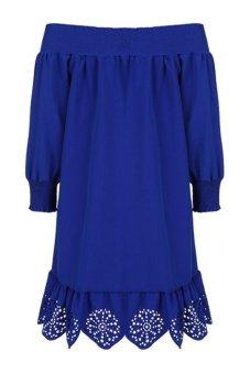 Slash Collar Long Sleeve Dress (Blue) TC - Intl
