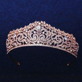 Crystal Wedding Bridal Crown Rhinestone Party Pageant Tiara Hairband Rose Gold - intl