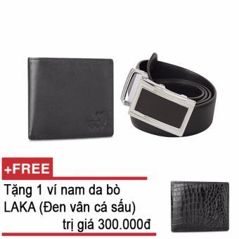 Mua Bộ ví và thắt lưng nam da bò thật LAKA đen trơn + Tặng 01 ví nam da bò LAKA (đen vân cá sấu) trị giá 300.000đ giá tốt nhất