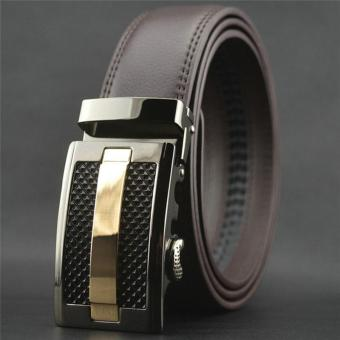 LALANG Fashion Men Automatic Buckle Faux Leather Belt 3# (Black)