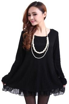 Linemart Knit Wool Loose Mini Dress (Black) - intl