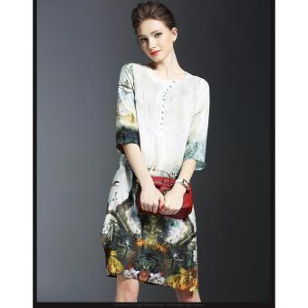 Đầm suông họa tiết Misa Fashion MS1085