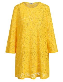 Cyber Women Plus Sizes 3/4 Sleeve Hollow Out Lace Dress Beach Cover-up ( Yellow ) - intl