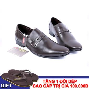 Giày tây nam công sở da thật Da giày Việt Nam VNL4AZ15N-1 (Nâu) + Tặng 1 đôi dép