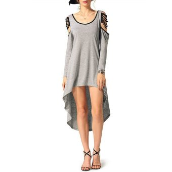 Cyber FINEJO Stylish Ladies Women Irregular Casual O-neck Long Sleeve Asymmetric Large Hem Dress ( Grey ) - Intl