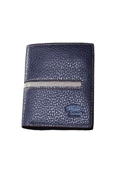 HKS Mens Lichee Pattern Bifold Business Leather Wallet Blue - intl