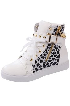 LALANG Women High Cut Sneakers Leopard Casual White - intl