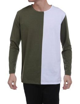 Linemart Men Casual Long Sleeve O Neck Patchwork Contrast Color Loose Pullover Panel Block T-Shirt ( Green ) - intl