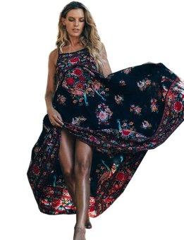 Linemart Women Casual Spaghetti Strap Sleeveless Floral Loose Beach Dress ( Black ) - intl