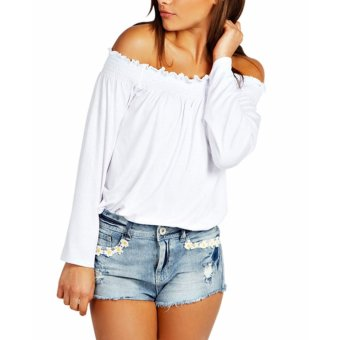 Women Shirred Off Shoulder Frill Casual Long Sleeve Blouse Off White (Intl) - intl