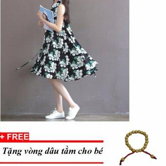 Đầm bầu công sở sát nách hoa xanh đen DB112 - tặng vòng dâu tằm cho bé