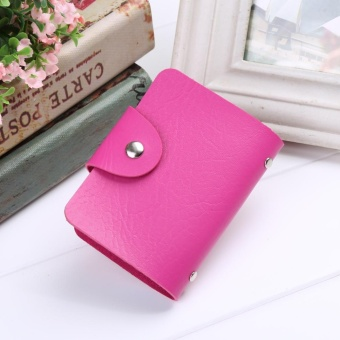 Cyber New New Unisex PU Leather 24 Cards Slots Men Women Purse Wallet Pocket Case ID Credit Card Holder ( Rose Red ) - intl