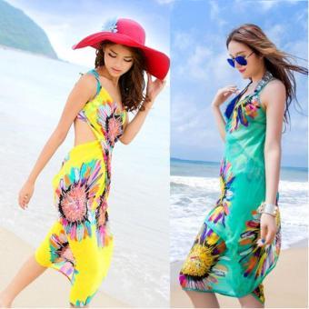 Combo 2 Khăn tắm đi biển hoa hướng dương Kim Phát (vàng-xanh lá)