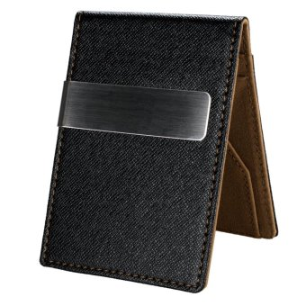 Linemart New Fashion Korean Style High Quality Men Mini Money Wallet With Clip ( Coffee ) - intl