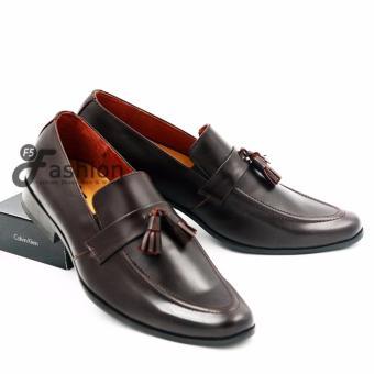 Giày Mọi Nam Hàn Quốc Chuông Da Bò 100% HQ131 (Nâu đậm)