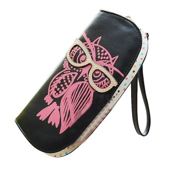 Wallets Cute Owl Glasses Hit Color Printing Rounded Zipper Long Women Wallet (Black) - INTL