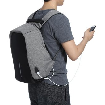Guapabien Multifunction Outdoor Bag Laptop Travel USB Interface Backpack For Men(Grey) - intl