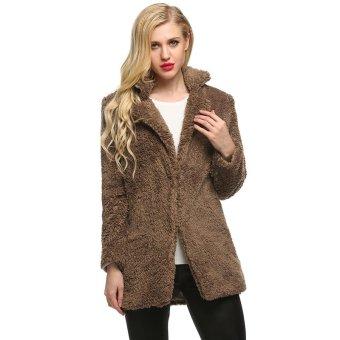 Cyber Finejo Women Casual Fluffy Faux Fur Warm Solid Long Straight Coat Jacket Outerwear Overcoat ( Khaki ) - Intl