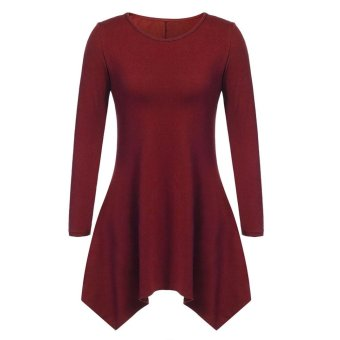 Sunweb Women Fashion Casual Round Neck Long Sleeve Solid Asymmetrical A-Line Short Dress ( Wine red ) - intl