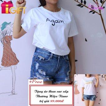 Áo Thun Nữ Tay Ngắn In Hình Again Dễ Thương Tiano Fashion LV070 ( Màu Trắng ) + Tặng Áo Thun Nữ Tay Ngắn In Hình Black White Tiano Fashion (Trắng)