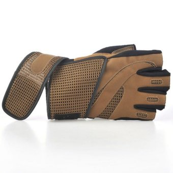 Moonar Outdoor Sports Racing Riding Mitten Gloves Half-finger with Breathable Wrist Wrap (Brown)