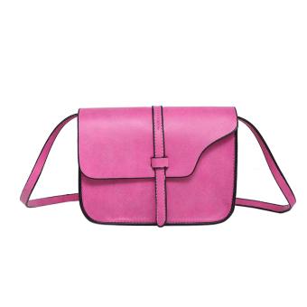 Women Leather Messenger Shoulder Bag Hot Pink - intl