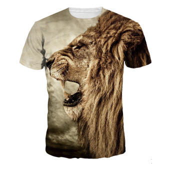 Moonar Men Fashion 3D Printing Lion Head Pattern Short Sleeve Casual T-Shirt (M-XL) - Intl - intl