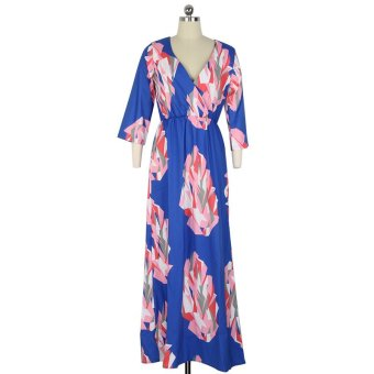 Printed Dress Abstract Pattern Design Dress(Blue) - Intl