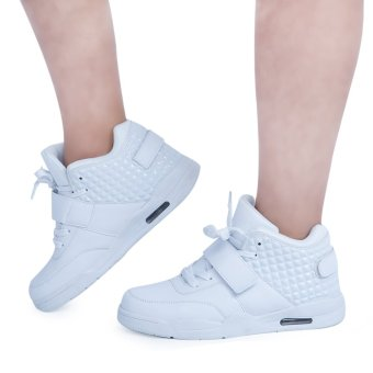 Patchwork Magic Tape Design Lace Up High Top Breathable Sports Shoes for Male (White) - intl