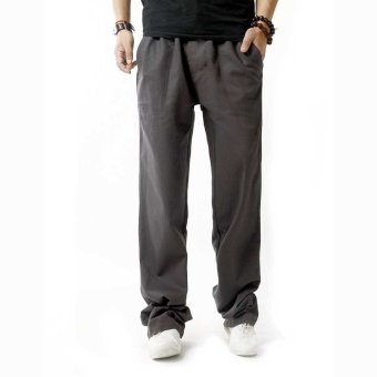 Linen Breathable Straight Elastic Band Male Causal Pants - intl