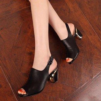 Giày cao gót da hở mũi gót vàng