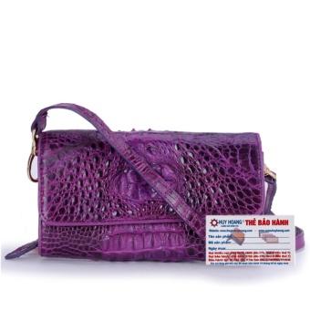HL6261 - Túi đeo nữ da cá sấu Huy Hoàng màu tím