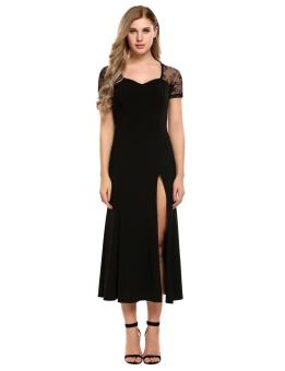 Cyber Women Sexy Lace Hollow out Patchwork Slim Pleated Split Hem Dress ( Black ) - intl