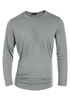 Cyber COOFANDY Men's Casual O-Neck Long Sleeve Solid Side Zipper T-Shirt Tops (Grey) - Intl