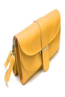 HKS Fashion Girl Women Leather Satchel Shoulder Messenger Bag Handbag Yellow - intl