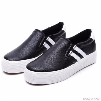 Giày lười nữ slip on Rozalo RWG3669BW-Đen Trắng